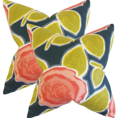 Yelena Geometric Cotton Throw Pillow Color: Poppy