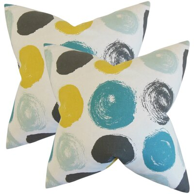 Zander Geometric Cotton Throw Pillow Color: Blue