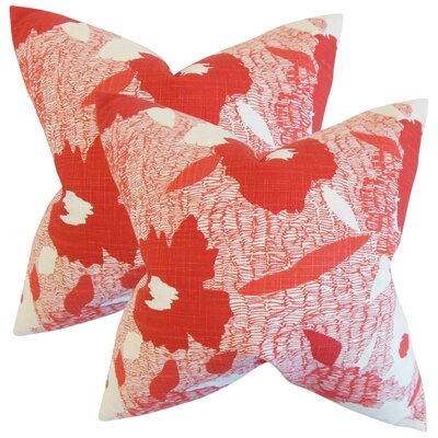Zara Cotton Throw Pillow Color: Poppy