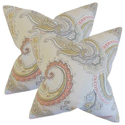 Giovanna Paisley Cotton Throw Pillow Color: Clush