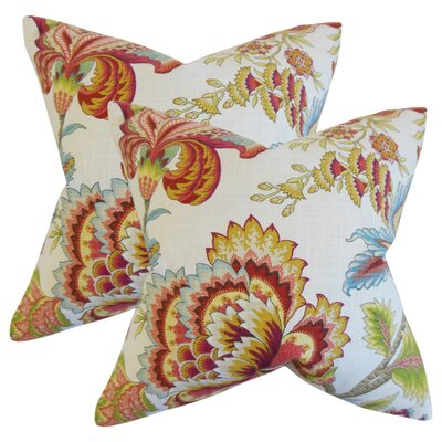 Fredrik Modern Floral Cotton Throw Pillow Color: Coral