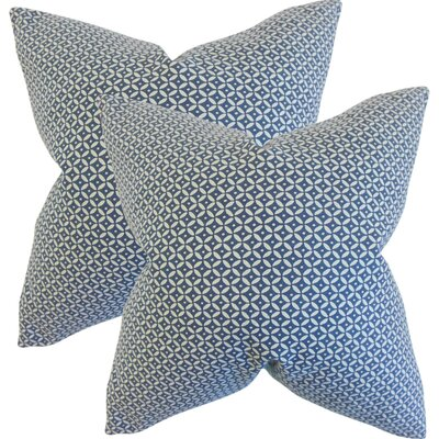 Zephyranthe Geometric Cotton Throw Pillow Color: Indigo