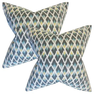 Zeta Ikat Cotton Throw Pillow Color: Rain