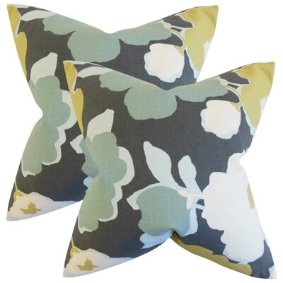 Janae Floral Cotton Throw Pillow Color: Charcoal