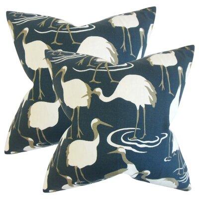 Lafitte Animal Print Cotton Throw Pillow Color: Blue
