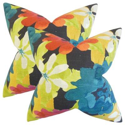 Zavijah Floral Cotton Throw Pillow Color: Berry