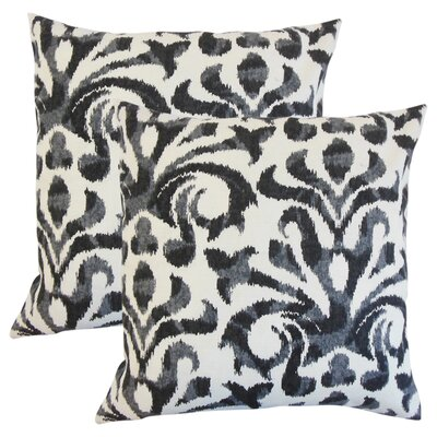 OShaughnessy Ikat Cotton Throw Pillow Color: Charcoal