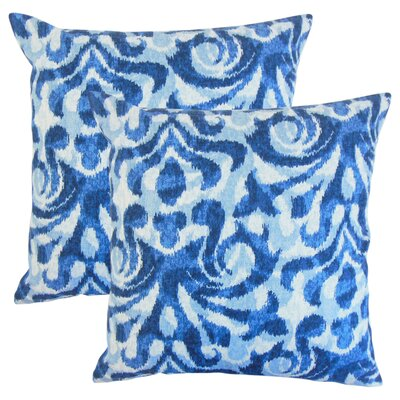 OShaughnessy Ikat Cotton Throw Pillow Color: Blue