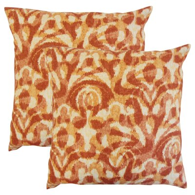 OShaughnessy Ikat Cotton Throw Pillow Color: Persimmon