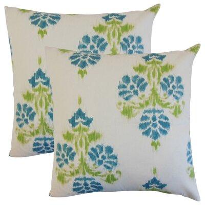 Summerfield Ikat Cotton Throw Pillow Color: Aqua/Green