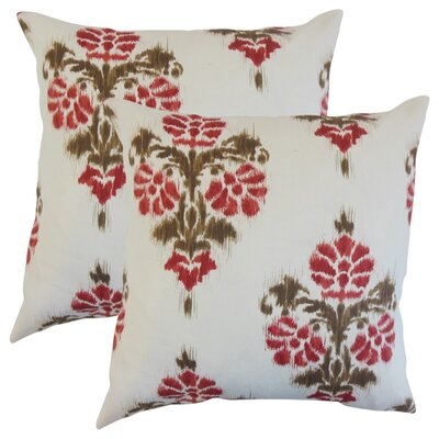 Summerfield Ikat Cotton Throw Pillow Color: Red