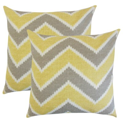 Simonton Zigzag Linen Throw Pillow Color: Yellow