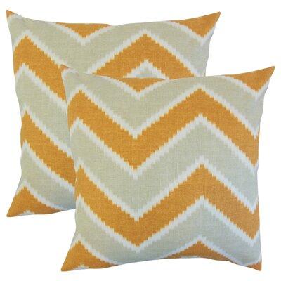 Simonton Zigzag Linen Throw Pillow Color: Orange