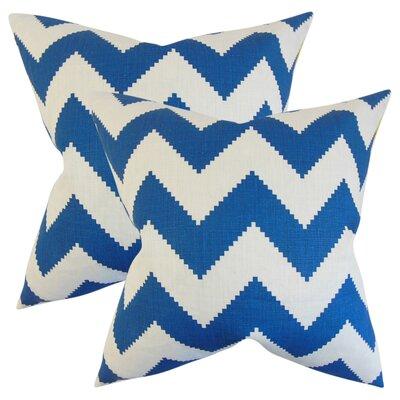 Svendsen Zigzag Linen Throw Pillow Color: Marine Blue
