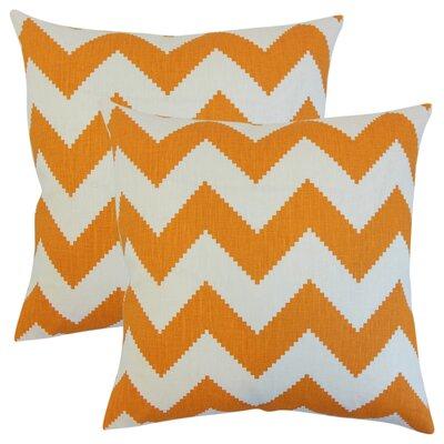 Svendsen Zigzag Linen Throw Pillow Color: Orange