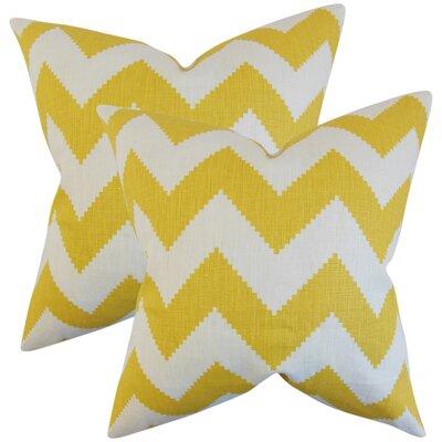 Svendsen Zigzag Linen Throw Pillow Color: Yellow