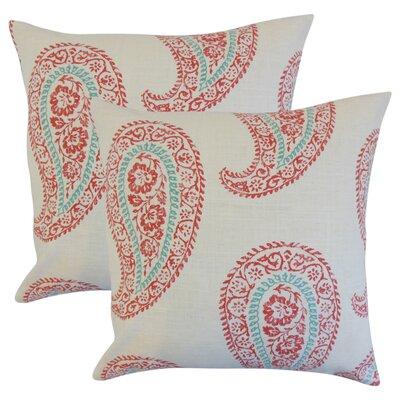 Oskar Geometric Linen Throw Pillow Color: Coral