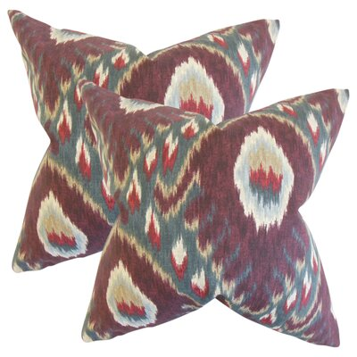 Ruddy Ikat Cotton Throw Pillow Color: Purple