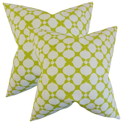 White City Geometric Linen Throw Pillow Color: Pear