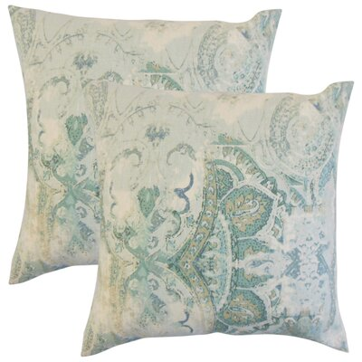 Brookview Floral Linen Throw Pillow Color: Blue