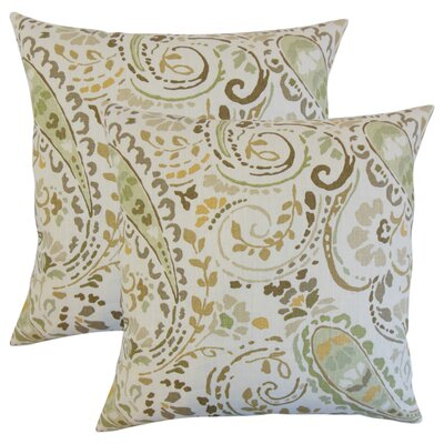 Marea Floral Linen Throw Pillow Color: Brown