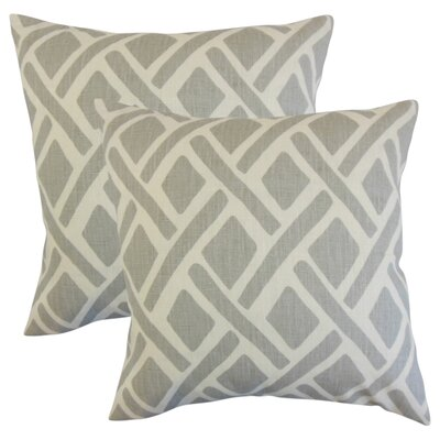 Oakfield Geometric Linen Throw Pillow Color: Gray
