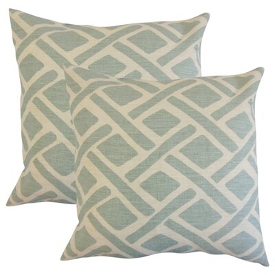 Oakfield Geometric Linen Throw Pillow Color: Lagoon Blue