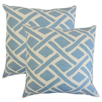 Oakfield Geometric Linen Throw Pillow Color: Blue