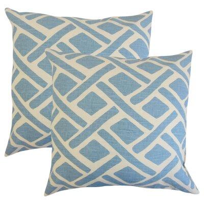 Oakfield Geometric Linen Throw Pillow Color: Blue