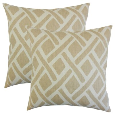 Oakfield Geometric Linen Throw Pillow Color: Tan
