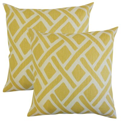 Oakfield Geometric Linen Throw Pillow Color: Yellow