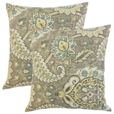 Fili Floral Linen Throw Pillow Color: Platinum