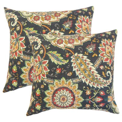 Fili Floral Linen Throw Pillow Color: Black