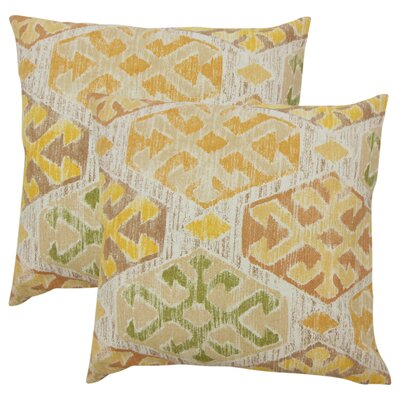 Wyona Ikat Cotton Throw Pillow Color: Gold