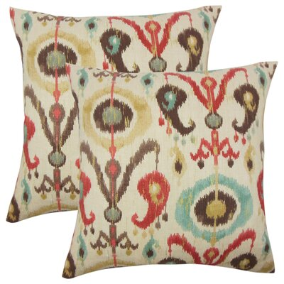 Sidney Ikat Cotton Throw Pillow Color: Copper