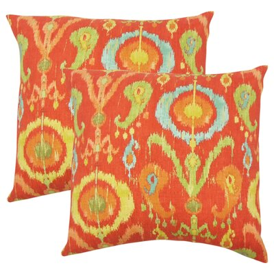 Sidney Ikat Cotton Throw Pillow Color: Flame
