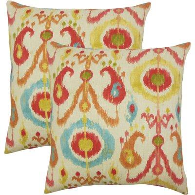 Sidney Ikat Cotton Throw Pillow Color: Papaya
