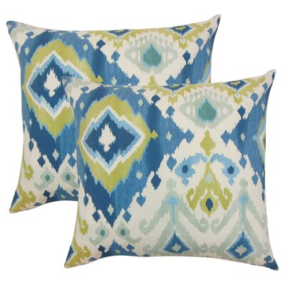 Rowell Ikat Cotton Throw Pillow Color: Aegean