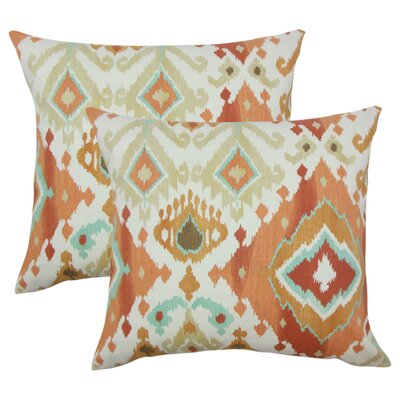 Rowell Ikat Cotton Throw Pillow Color: Clay