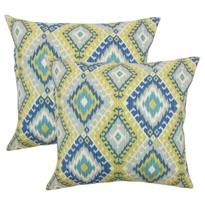 Karolyne Ikat Cotton Throw Pillow Color: Aegean