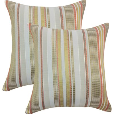 Alberta Stripes Throw Pillow Color: Freesia