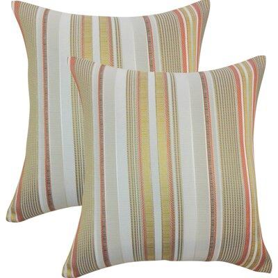 Alberta Stripes Throw Pillow Color: Freesia