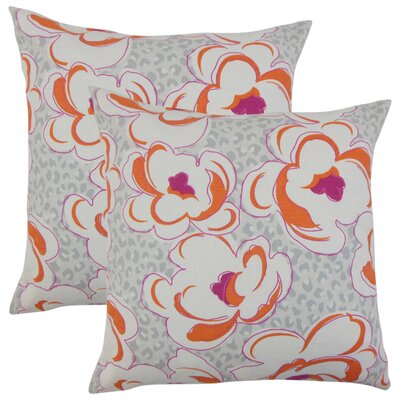 Wolford Floral Cotton Throw Pillow Color: Tangerine