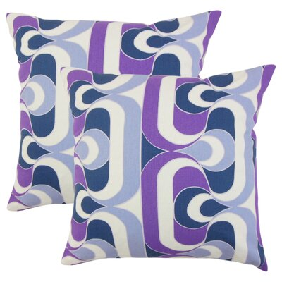 Wolfram Geometric Cotton Throw Pillow Color: Plum