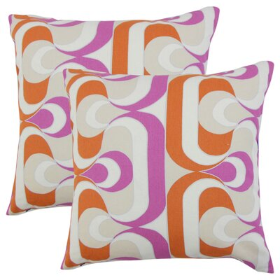 Wolfram Geometric Cotton Throw Pillow Color: Tangerine