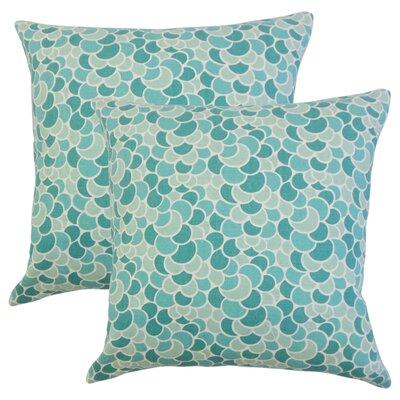 Basinger Geometric Cotton Throw Pillow Color: Aquamarine