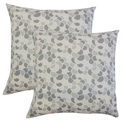 Basinger Geometric Cotton Throw Pillow Color: Pewter