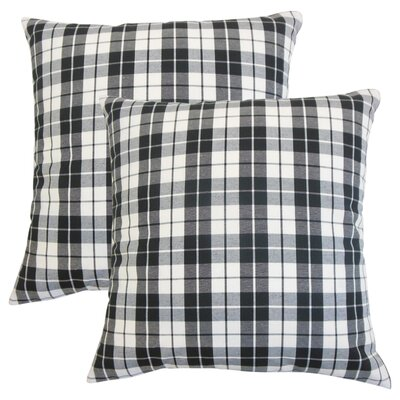 Schwaller Plaid Cotton Throw Pillow Color: Black