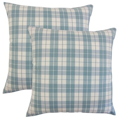 Schwaller Plaid Cotton Throw Pillow Color: Sea