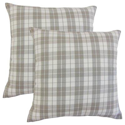 Schwaller Plaid Cotton Throw Pillow Color: Slate